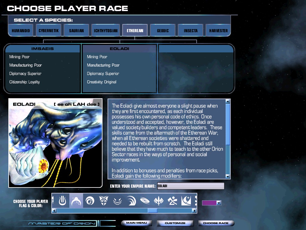 Choosing a player race in Master of Orion 3 - this shows the Eoladi