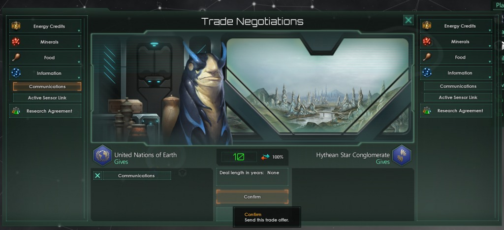 Stellaris Ascension Perks and Surveying - Communications trading