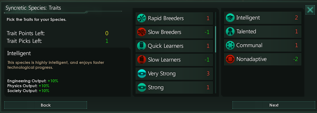 Stellaris Mod Roundup - December '17 - Choose Syncretic Species Traits