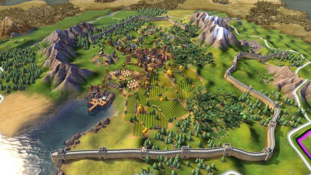 The Great Wall of China in Civ 6, the most famous historical megastructure